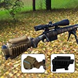 GVN Portable Adjustable Tactical Buttstock Shell Holder Cheek Rest Pouch Holder Pack With Ammo Carrier Case FDE (Color: FDE)