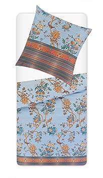 Bettwäschegarnitur Flanell 155x220 sand terra Reißverschluss Kaeppel aqua-textil