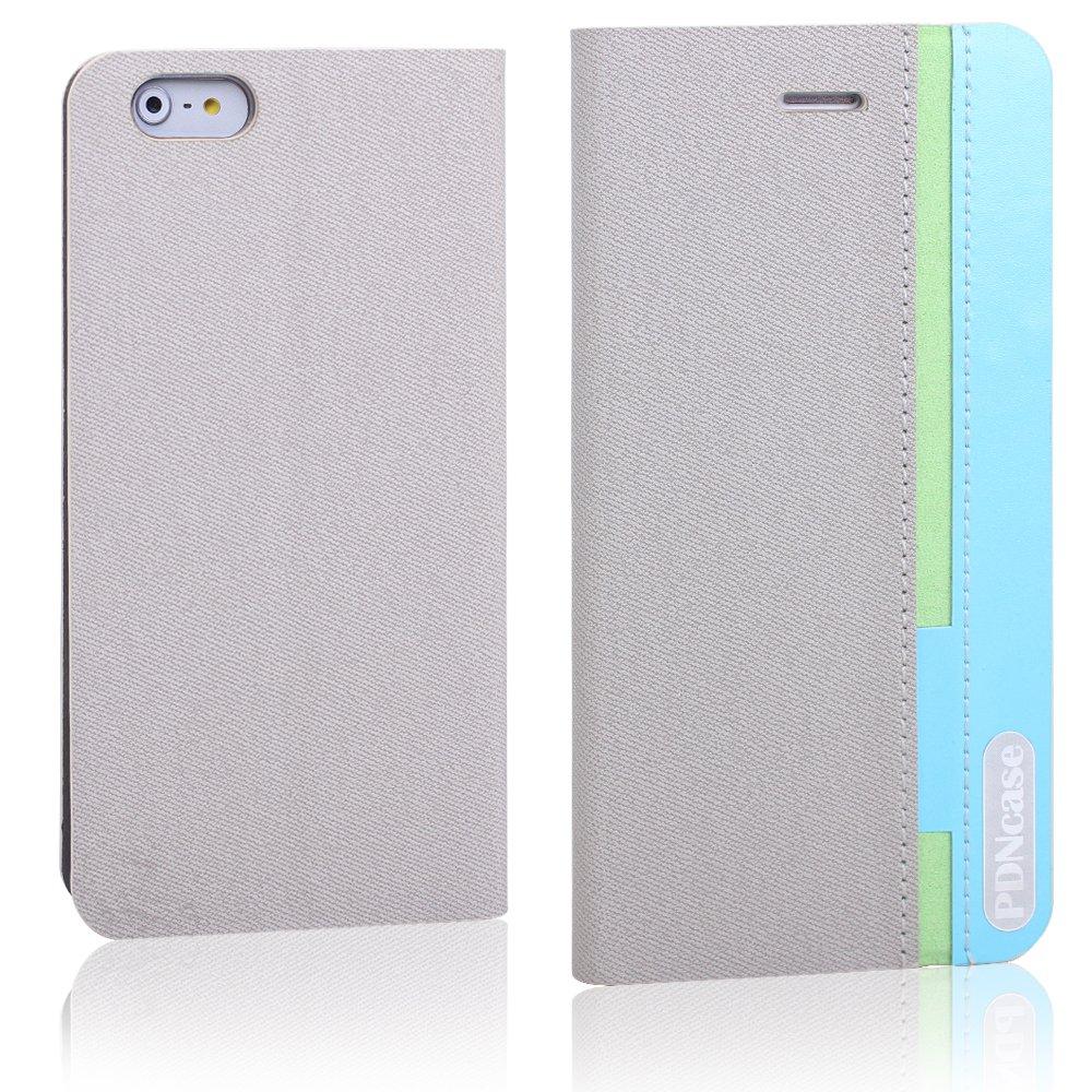 Pdncase Funda de Piel para iphone 6 Plus Wallet Case Cover - Gris - Electrónica - Más información y revisión del cliente