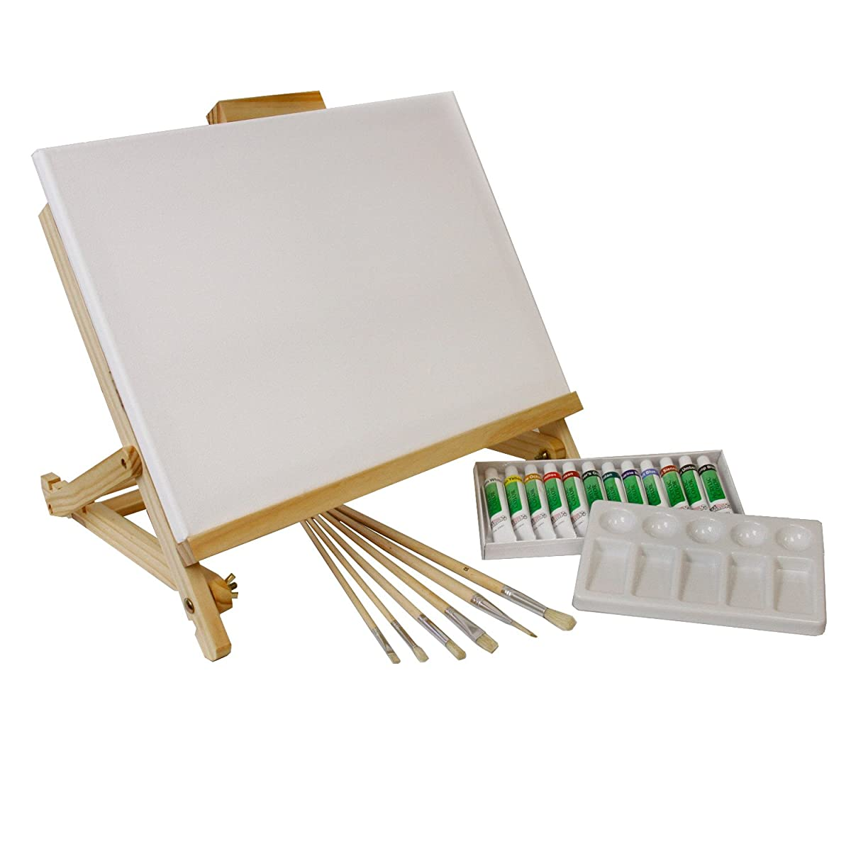 Us art supply 21 piece acrylic painting table easel set for Acrylic mural paint supplies