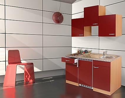 respekta KB150BR Kuchenzeile Kuchenblock Single Kuche Buche rot 150 cm mit Geräten
