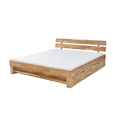 Massives Design Doppelbett WOTAN 180cm Massivholz Eiche geölt mit Regal und Schubladen Bett Schlafzimmer Holzbett Bettrahmen Massivholzbett mit geteiltem Kopfteil