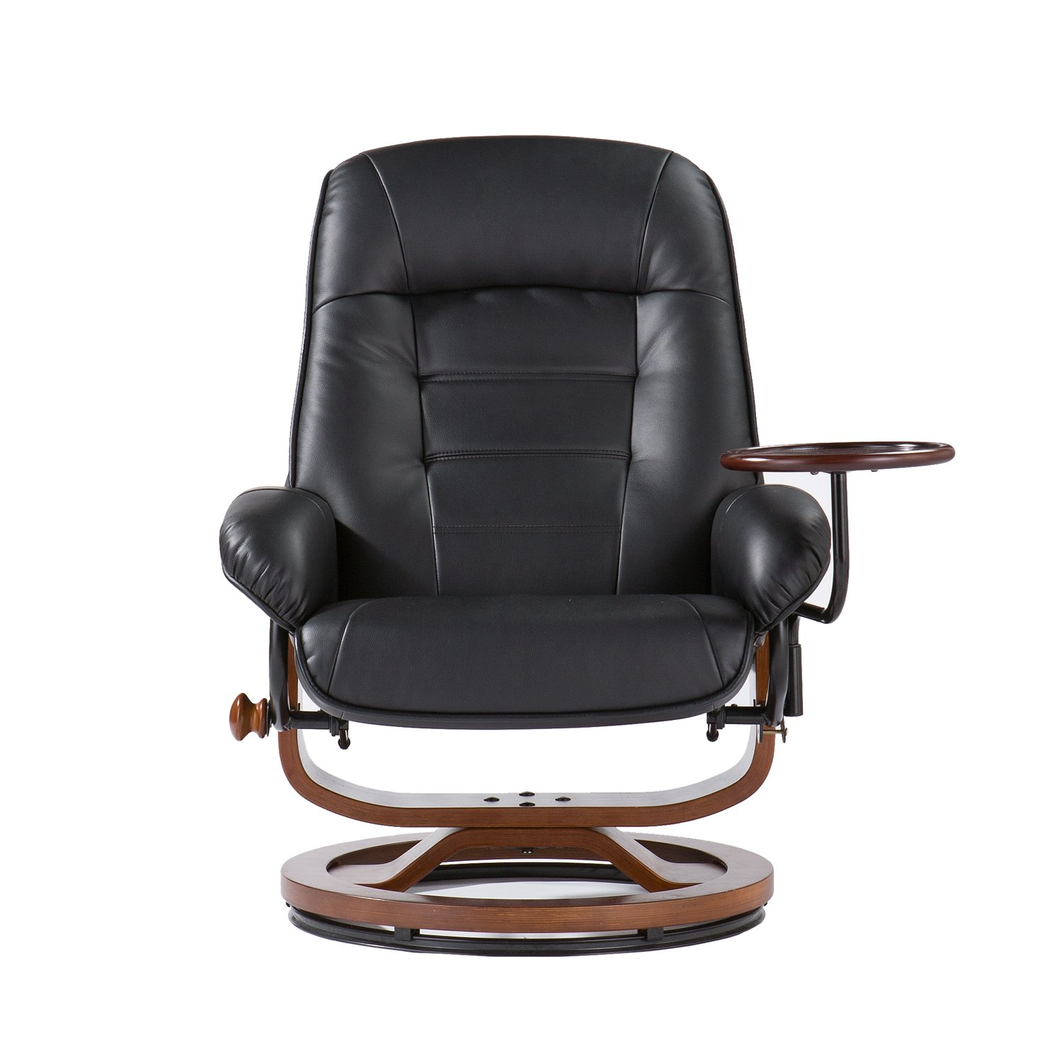 Adjustable Black Leather Recliner And Ottoman Office