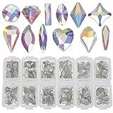 LOCOLO Nail Rhinestones - 300 Pieces Mixed 3D Nail Art Stone AB Crystal Nail Gems for 3D Nail Art Beauty Design DIY Craft