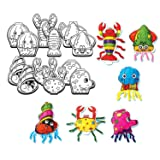 Gift Expressions 6 Design Colorloon Form Cray Paint Colors On The Balloon Kids Craft Party Art Craft, Squid, Octopus, Lobster, Jellyfish, Crab, Hermit Crab (Sea Life, 1 Set) (Color: Sea Life, Tamaño: 1 Set)
