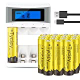Tycipy 16 Pack 1.2V 2800mAh Rechargeable Ni-MH AA Batteries and 4 Bay AA AAA Battery Charger