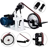 Happybuy 2Hp Belt Grinder Constant Speed 2 X 82inch Belt Disc Sander with 3 Grinding Wheel Bench Sander 12inch Wheel and Flat Platen Tool Rest for Knife Making (Color: Constant speed)