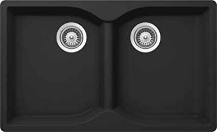 Schock CAMN200SU010 Cristalite 50/50 Undermount Double Bowl Kitchen Sink, Onyx