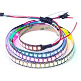 BTF-LIGHTING WS2812B 144 leds/pixels/m Black PCB Individual Addressable Full Color led pixel strip Dream Color Non-waterproof 3.2FT 1m (Color: Black Pcb Ip30, Tamaño: 1m 144leds/m)