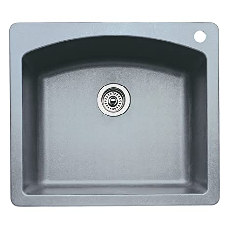Blanco 440209 Diamond Single-Basin Drop-In or Undermount Granite Kitchen Sink, Metallic Grey