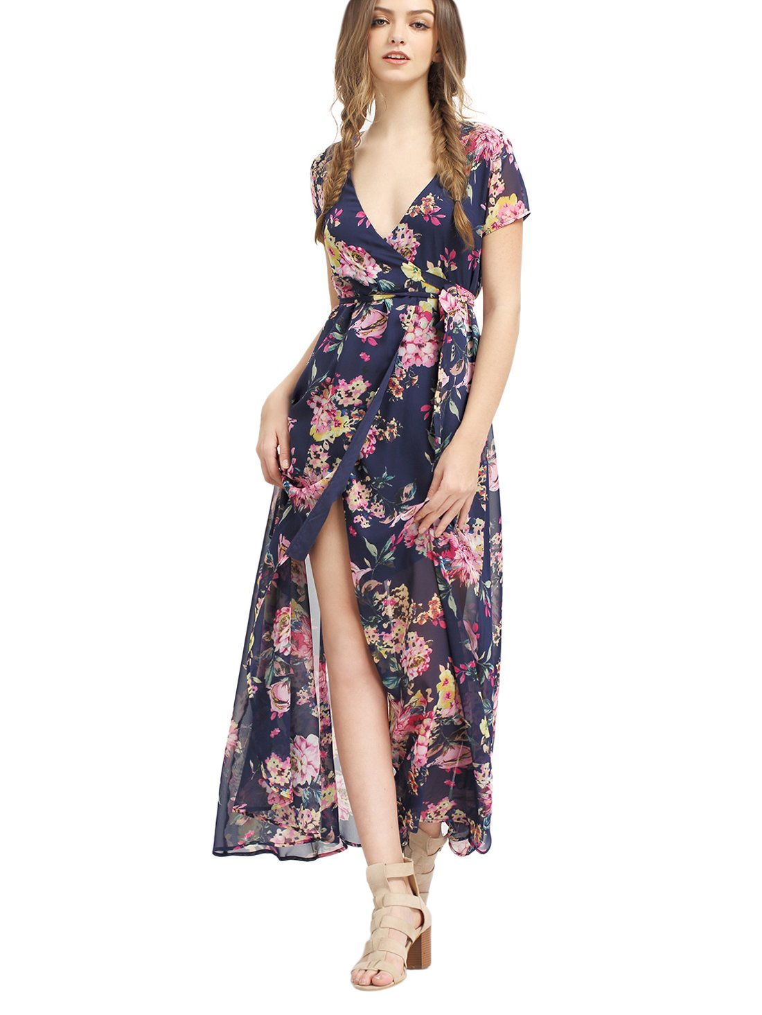 Milumia Women S Vintage Floral Print Split Wrap Maxi Dress