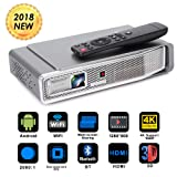 Foluu Mini Video Projector DLP 3D Portable Projector Support 1080P 4K Decoding 500 ANSI lm Bluetooth HDMI USB TF Card for Home Cinema iPhone Android Wireless Screen Share Auto Keystone Correction (Color: Sliver)