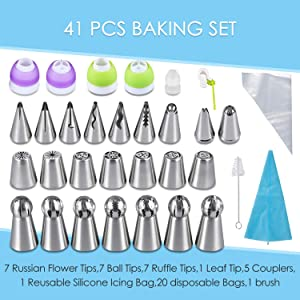 YUJUE Russian Piping Tips - Cake Decorating Supplies - 41 Baking Supplies Set - 7 Russian Flower Tips, 7 Ball Tips, 7 Ruffle Tips, 1 Leaf Tip, Bakes Flower Nozzles-Large Cupcake Decorating Kit (Color: 41-1pcs silver)