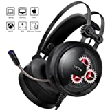 Gaming Headset with Mic, Latow GH02 Stereo Over Ear Noise Cancelling Headphones, 50mm Driver, Led Lights, Bass Surround, Soft Memory Earmuffs for PS4, PC, Xbox One, Switch, Professional Gamer Headset (Color: Black)