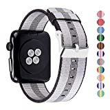 Pantheon Woven Nylon Replacement Band Compatible The Apple Watch - Women's Men's Strap - Fits The 42mm Apple iWatch Series 3 2 1 Hermes Nike Edition (Color: Stripe, Black and Double Gray, Tamaño: 42mm)