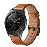 Aimtel Compatible Samsung Galaxy Watch(42mm) Bands, 20mm Genuine Leather Strap Replacement Band Compatible Samsung Galaxy Watch SM-R810/SM-R815 /Gear Sport/Suunto 3 Fitness Smart Watch-Brown (Color: Brown)