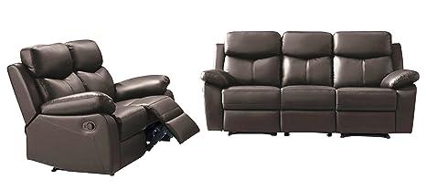 SWS Whitney Modular Sofa Set, Leather, Dark Brown, Set of 2