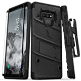 BONTOUJOUR Samsung Galaxy Note 9 Case Luxury Tempered Glass Back Cover with Soft TPU Bumper Frame Shock Absorption 360 Degree Full Body Strong Protection Extreme Slim Red