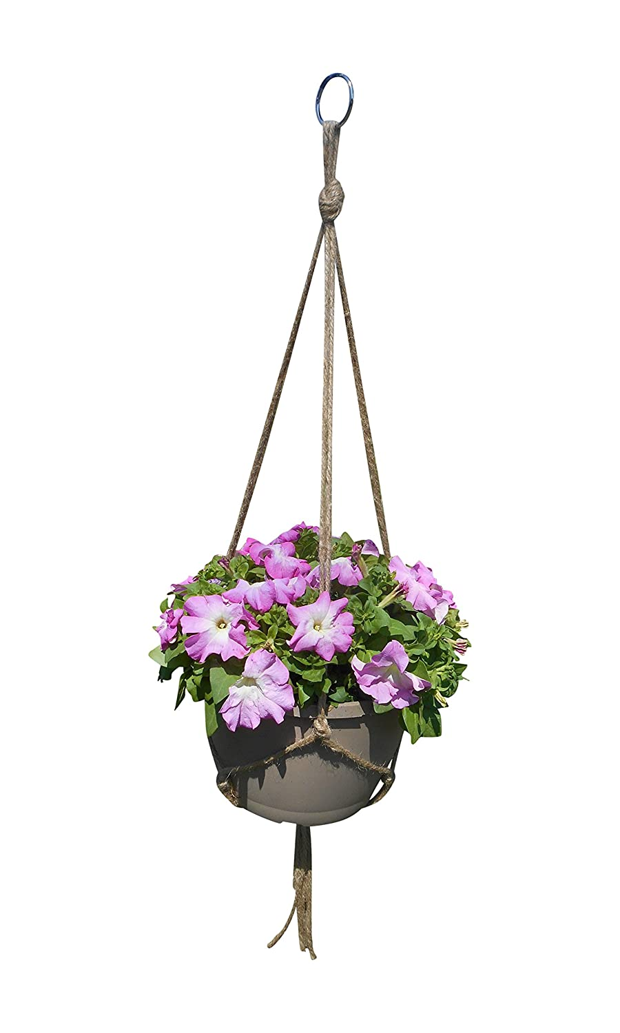 Plant Hanger 3 Leg 42 Inch Natural Jute Extra Strength Indoor Outdoor Plants Hanging Baskets Manufactured By Crows Nest Macrame 3L-42 six crows
