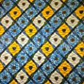 African Print Fabric Cotton Print Braveheart Blue 44'' wide By The Yard Blue Yellow