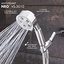 Speakman VS-3010 Neo Anystream High Pressure Handheld Shower Head with Hose, Polished Chrome