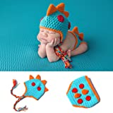 Meelino Newborn Photography Props Outfit Crochet Knitted Infant Baby Costume accessories (0-12 Months, Dinosaur) (Color: Dinosaur, Tamaño: 0-12 months)