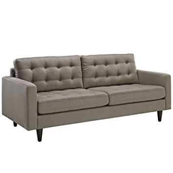 LexMod Empress Upholstered Sofa, Granite
