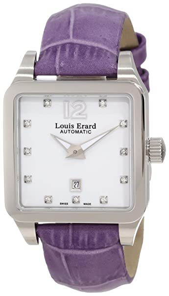 Louis Erard Women's 20700AA11.BDC63 Emotion Square Automatic Purple Leather Diamond Watch