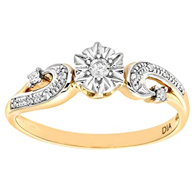 Naava Ladies 9ct Yellow Gold Diamond Accent Ring