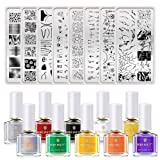 BORN PRETTY Nail Art Stamping Tool Kit 8Pcs Image Stamp Plate with 10 Bottles 6ml Classic Stamping Polish DIY Nail Art Design