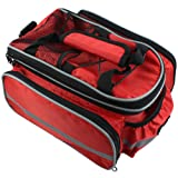 Bike Rear Seat Waterproof Multi Function Excursion Cycling Bicycle Trunk Bag Carrying Luggage Package Rack Panniers with Rainproof Cover(Red) RUKEY (Color: RED)