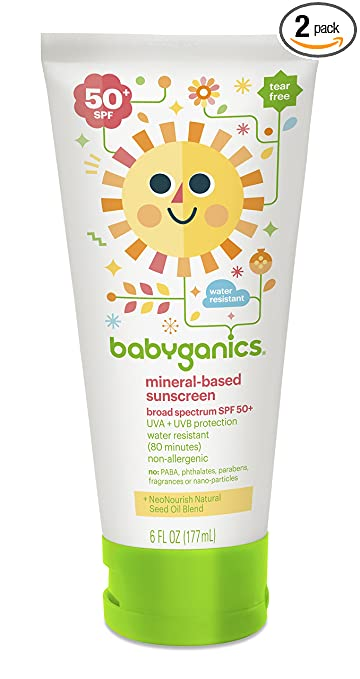 Babyganics Mineral-Based Baby Sunscreen Lotion, SPF 50, 6oz Tube (Pack of 2)