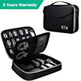 Electronic Organizer, Double Layer Travel Bag Accessories Organizer for Cords USB Cables SD Cards MP3 Player Hard Drive Power Bank, E-Book Kindle iPad or Tablet(up to 9.7