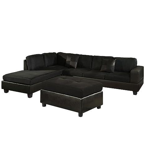 US Pride Sierra Microfiber Sectional Sofa with Ottoman, Left, Black