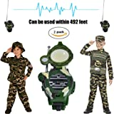 Kids Walkie Talkies Watch Walky Talky Set Camo Outdoor Army Toys 150 Meters Long Range Two Way Radios for Children Gifts Camouflage Watch 7 in 1 (2 PACK)