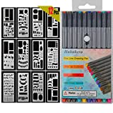 10-Colors Bullet Journal Pens with 12-Pieces Drawing Stencils Perfect for Planner Journaling Writing Note Taking Notebook Diary Calendar and School Office Supplies