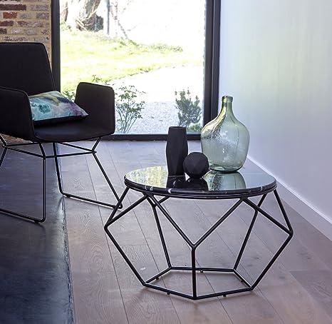 Tikamoon Indoor-Outdoor Happy Table Basse Ronde, Marbre, Noir, 72 x 72 x 42 cm