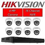 Hikvision DS-7616NI-E2/16P 16CH POE NVR & 8pcs DS-2CD2142FWD-I 2.8mm Dome Camera Dome Camera Kit