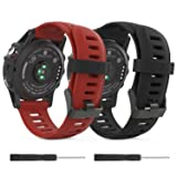 Garmin Fenix 3 / Fenix 5X Watch band, MoKo Soft Silicone Replacement [2 PACK] Watch Band for Garmin Fenix 3 / Fenix 3 HR / Fenix 5X Smart Watch - Black & Dark Red