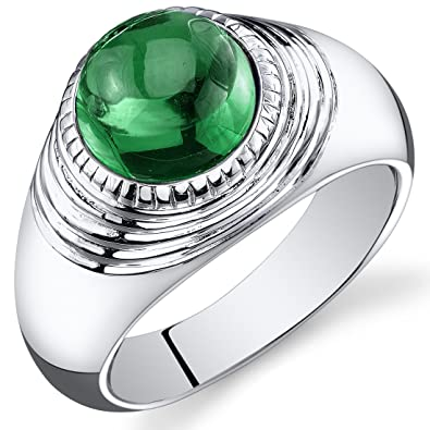 Revoni Mens 5.50 Carats Round Cabochon Emerald Ring In Sterling Silver With Rhodium Finish