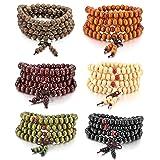 MOWOM 6PCS 8mm Wood Bracelet Link Wrist Necklace Chain Tibetan Buddhist Sandalwood Bead Prayer Buddha Mala Chinese knot (Color: Style G: 6PCS a Set)
