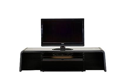 Jahnke SL 4200 SGL/MATT SW T.1-2 TV-Lowboard, E1-Holzwerkstoffplatten, beschichtet und lackiert, ESG-Sicherheitsglas, schwarzglas, 200 x 50 x 50 cm