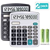 Calculator, 2-Pack 12-Digit Solar Battery Basic Calculator, Solar Battery Dual Power Office Calculator, with Large LCD Display and Large Buttons (Batt