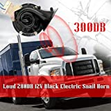 Loud 300DB 12V Black Electric Snail Horn ABS And Metal Material Air Horn Raging Sound For Car Motorcycle Truck Boat Accessories (Color : Black-1) (Color: Black-1)