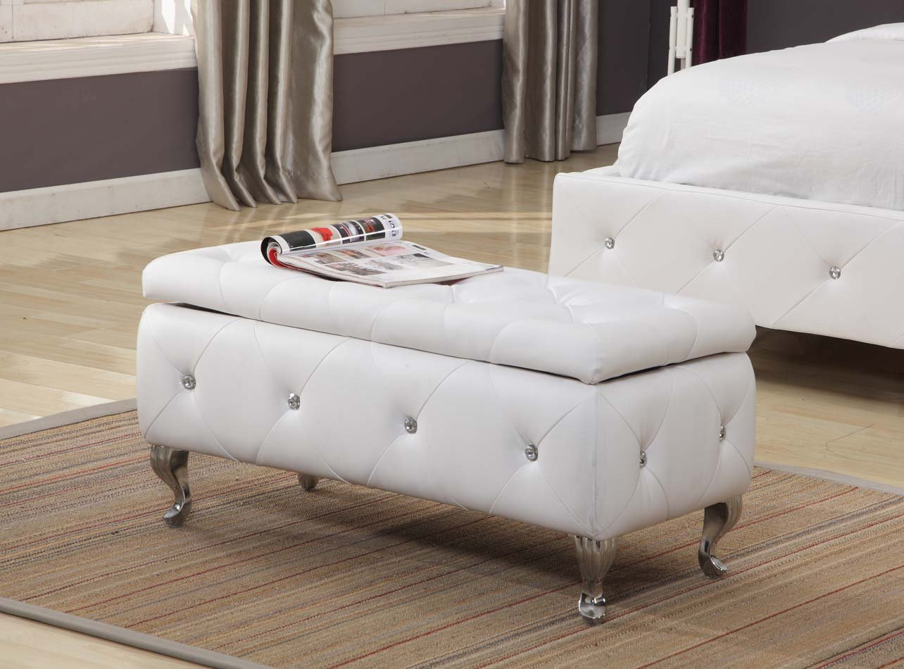 Kings brand tufted design white upholstered storage bench ottoman new ebay White upholstered bench