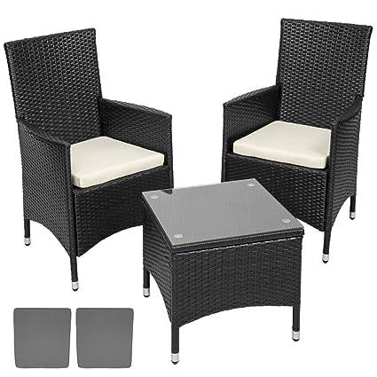 TecTake Aluminium Poly Rattan Gartenmöbel Gartengarnitur | schwarz | incl. Sitzkissen +2 Bezuge | Edelstahlschrauben