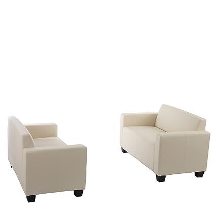Sofa-Garnitur Couch-Garnitur 2x 2er Sofa Lyon Kunstleder ~ creme