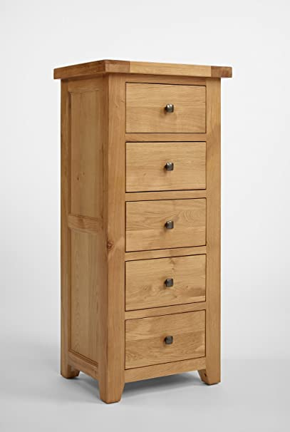 Rustic Grange Devon Oak 5 Drawer Wellington