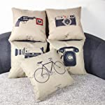 Monkeysell 5 Pcs Black and Beige Stripe Vintage Style Cotton Linen Sofa Home Decor Design Throw Pillow Case Cushion Covers Square 18Inch-Set of 5