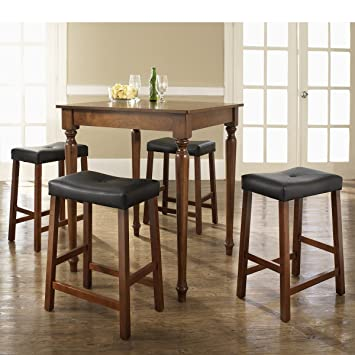 5-pc Pub Dining Set with Turned Leg and Upholstered Saddle Stools by Crosley - Classic Cherry Finish (KD520012CH)